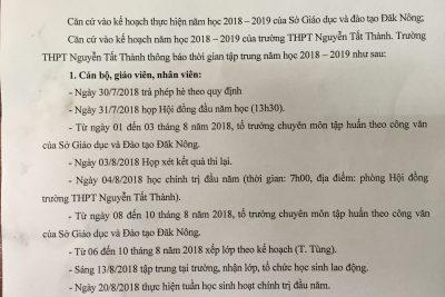 Thời gian tập trung đầu năm học 2018-2019